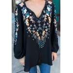 Tiny Floral Embroidery Peasant Blouse deal