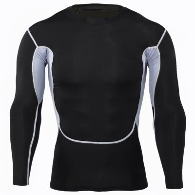 Mesh Splicing Fitness T-shirtWeight Lifting Clothes<br>Mesh Splicing Fitness T-shirt<br><br>Color: Black<br>Features: Breathable, High elasticity, Quick Dry<br>Gender: Men<br>Material: Polyester<br>Package Content: 1 x T-shirt<br>Package size: 36.00 x 24.00 x 1.00 cm / 14.17 x 9.45 x 0.39 inches<br>Package weight: 0.230 kg<br>Product weight: 0.180 kg<br>Size: 2XL,3XL,L,M,XL<br>Types: Long Sleeves