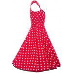 cheap Vintage Polka Dot Square Neck Fit and Flare Dress