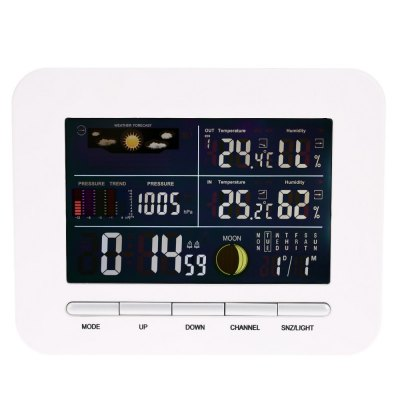TS - 76 Multi-functional LCD Digital Weather ForecastOther Consumer Electronics<br>TS - 76 Multi-functional LCD Digital Weather Forecast<br><br>Feature: °C/°F display selection<br>Model: TS - 76<br>Package Contents: 1 x Outdoor Transmitter, 1 x Indoor Receiver, 1 x Power Adapter, 1 x English User Manual<br>Package size (L x W x H): 25.00 x 15.30 x 3.50 cm / 9.84 x 6.02 x 1.38 inches<br>Package weight: 0.5060 kg<br>Product size (L x W x H): 17.70 x 14.00 x 2.30 cm / 6.97 x 5.51 x 0.91 inches<br>Product weight: 0.2610 kg<br>Type: Outdoor Thermometer, Indoor Thermometer<br>°C/°F Display Selection: Yes