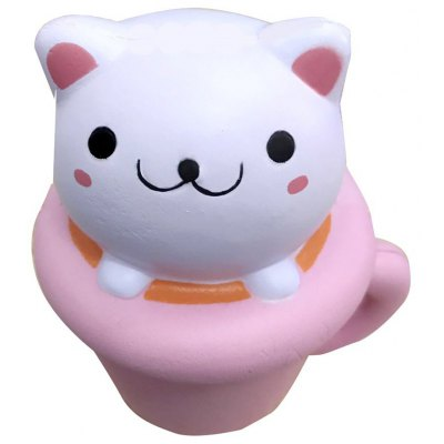 Cute Teacup Kitten Soft PU Foam Squishy Toy