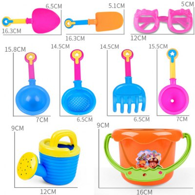 9pcs Kids Sand Beach Toys Castle Bucket Spade Shovel RakeClassic Toys<br>9pcs Kids Sand Beach Toys Castle Bucket Spade Shovel Rake<br><br>Material: Plastic<br>Package Contents: 1 x Set of Beach Toys<br>Package size (L x W x H): 25.00 x 20.00 x 18.00 cm / 9.84 x 7.87 x 7.09 inches<br>Package weight: 0.4200 kg<br>Product size (L x W x H): 20.00 x 16.00 x 14.00 cm / 7.87 x 6.3 x 5.51 inches<br>Product weight: 0.2200 kg