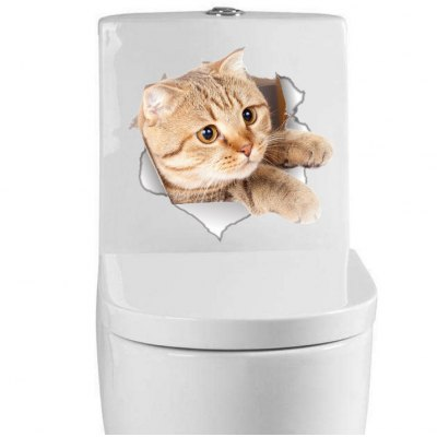 Bathroom Toilet Cat Printed Removable Sticker Wallpaper