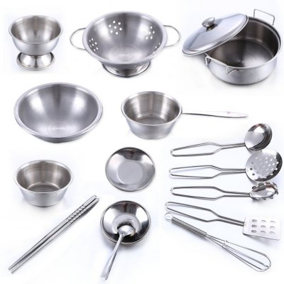 Stainless Steel Kitchen Utensils Toys 16pcs for Children
