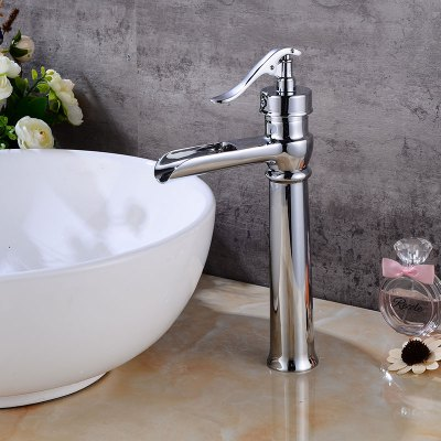 Waterfall Brass Single Handle Bathroom Sink FaucetFaucets<br>Waterfall Brass Single Handle Bathroom Sink Faucet<br><br>Cold and Hot Switch: Yes<br>Feature: Waterfall<br>Function: Bathroom Sink Faucets<br>Installation Holes: One Hole<br>Material: Brass<br>Number of Handles: Single Handle<br>Package Contents: 1 x Bathroom Sink Faucet<br>Package size (L x W x H): 39.00 x 22.50 x 8.00 cm / 15.35 x 8.86 x 3.15 inches<br>Package weight: 1.5200 kg<br>Product size (L x W x H): 38.00 x 21.50 x 7.00 cm / 14.96 x 8.46 x 2.76 inches<br>Product weight: 1.0000 kg<br>Style: Contemporary