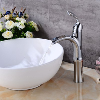 Brass Bathroom Sink Faucet with Single Handle One HoleFaucets<br>Brass Bathroom Sink Faucet with Single Handle One Hole<br><br>Cold and Hot Switch: Yes<br>Feature: Waterfall<br>Function: Bathroom Sink Faucets<br>Installation Holes: One Hole<br>Material: Brass<br>Number of Handles: Single Handle<br>Package Contents: 1 x Bathroom Sink Faucet<br>Package size (L x W x H): 39.00 x 22.50 x 8.00 cm / 15.35 x 8.86 x 3.15 inches<br>Package weight: 1.9200 kg<br>Product size (L x W x H): 38.00 x 21.50 x 7.00 cm / 14.96 x 8.46 x 2.76 inches<br>Product weight: 1.4000 kg<br>Style: Contemporary