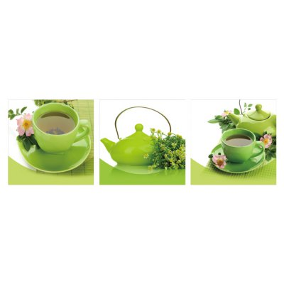 3pcs Green Cups Printing Canvas Wall Decoration