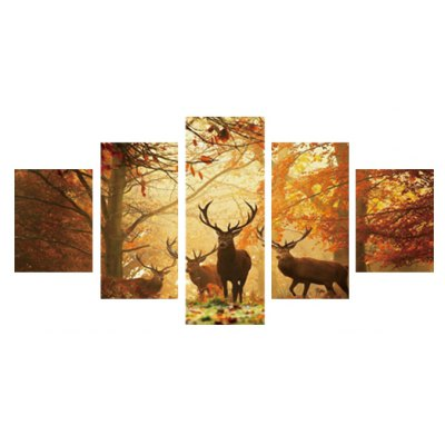 5pcs Antelope Printing Canvas Wall Decoration