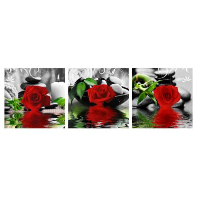3PCS Rose Stone Chess Picture Modern Wall Art Painting Unframed