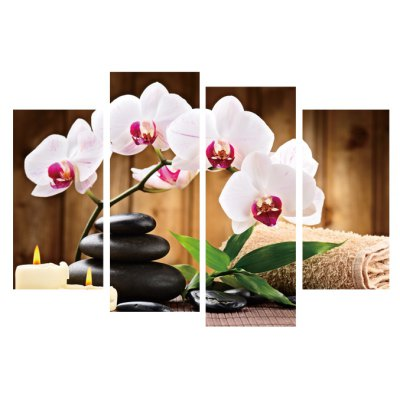 4pcs Flower Clumps Printing Canvas Wall Decoration