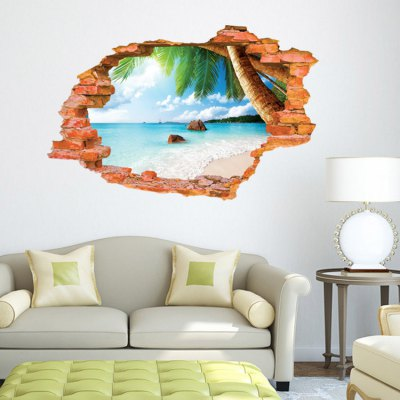 DSU Creative Beach 3D Wall Sticker Wallpaper