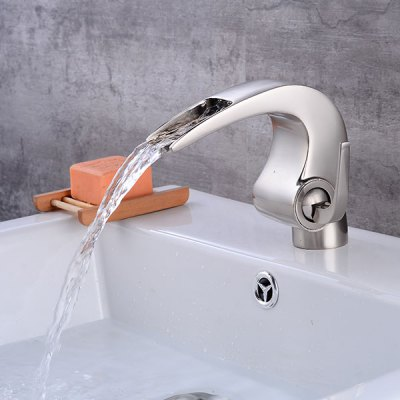 A24 Single Handle Bathroom Sink FaucetFaucets<br>A24 Single Handle Bathroom Sink Faucet<br><br>Cold and Hot Switch: Yes<br>Feature: Waterfall<br>Finish: Brushed<br>Function: Bathroom Sink Faucets<br>Installation Holes: One Hole<br>Number of Handles: Single Handle<br>Package Contents: 1 x Bathroom Sink Faucet<br>Package size (L x W x H): 16.00 x 17.00 x 10.00 cm / 6.3 x 6.69 x 3.94 inches<br>Package weight: 1.3700 kg<br>Product size (L x W x H): 14.00 x 15.00 x 8.00 cm / 5.51 x 5.91 x 3.15 inches<br>Product weight: 1.1450 kg<br>Style: Contemporary