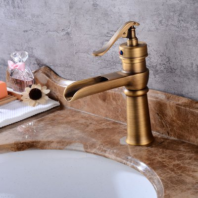A27 Single Handle Bathroom Sink FaucetFaucets<br>A27 Single Handle Bathroom Sink Faucet<br><br>Cold and Hot Switch: Yes<br>Feature: Waterfall<br>Function: Bathroom Sink Faucets<br>Installation Holes: One Hole<br>Number of Handles: Single Handle<br>Package Contents: 1 x Bathroom Sink Faucet<br>Package size (L x W x H): 23.00 x 16.50 x 11.00 cm / 9.06 x 6.5 x 4.33 inches<br>Package weight: 1.2200 kg<br>Product size (L x W x H): 21.00 x 15.00 x 8.00 cm / 8.27 x 5.91 x 3.15 inches<br>Product weight: 1.0000 kg<br>Style: Retro