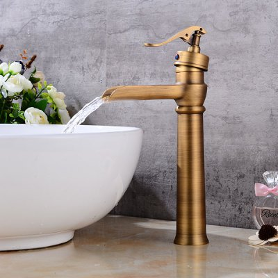 A28 Single Handle Bathroom Sink FaucetFaucets<br>A28 Single Handle Bathroom Sink Faucet<br><br>Cold and Hot Switch: Yes<br>Feature: Waterfall<br>Function: Bathroom Sink Faucets<br>Installation Holes: One Hole<br>Number of Handles: Single Handle<br>Package Contents: 1 x Bathroom Sink Faucet<br>Package size (L x W x H): 38.00 x 16.50 x 11.00 cm / 14.96 x 6.5 x 4.33 inches<br>Package weight: 1.2700 kg<br>Product size (L x W x H): 32.00 x 15.00 x 8.00 cm / 12.6 x 5.91 x 3.15 inches<br>Product weight: 1.0500 kg<br>Style: Retro