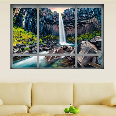 YM1042 3D Europe Iceland Waterfall Landscape Wall Sticker