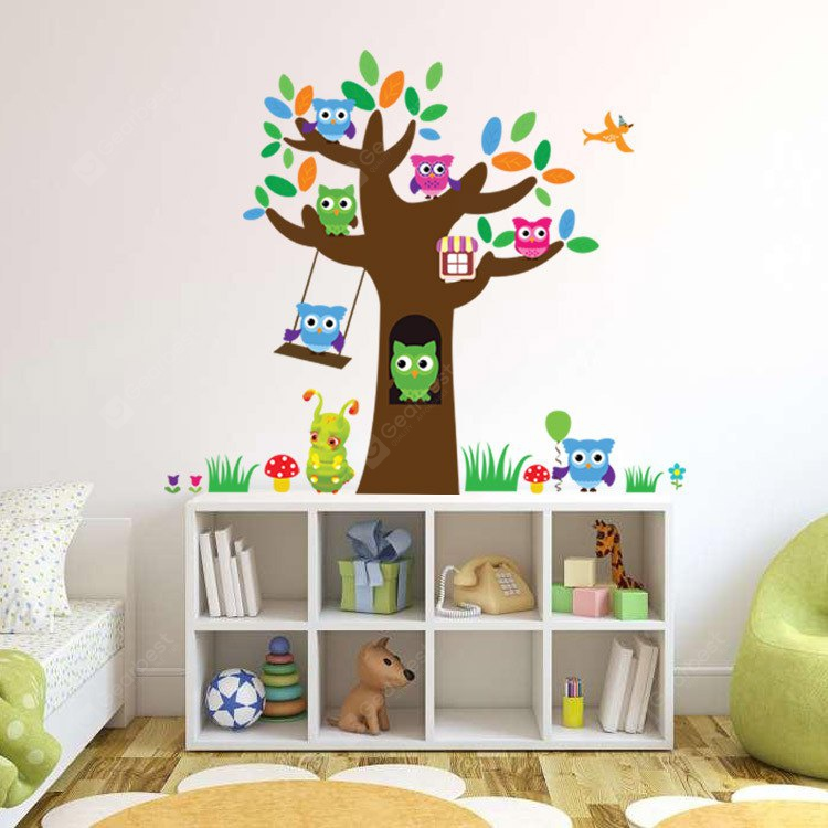 Cute Wise Owls Tree Decorative Wall Sticker COLORFUL