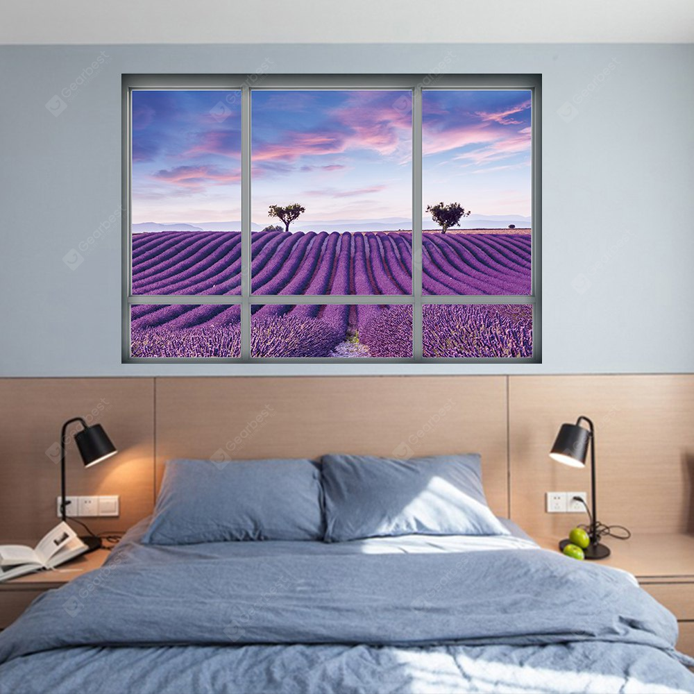 YM1026 3D French Lavender Landscape Wall Sticker COLORFUL