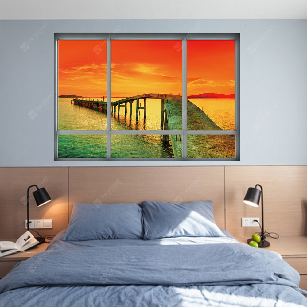 YM1027 3D Landscape Sea Sunset Wall Sticker COLORFUL