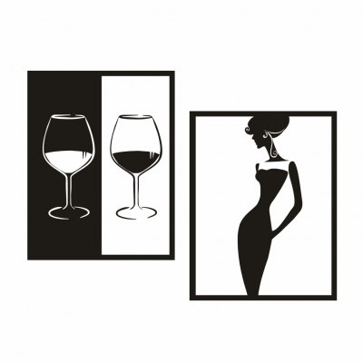 AY - 350 DIY Red Wine and Beauty Border Combination Wall Sticker