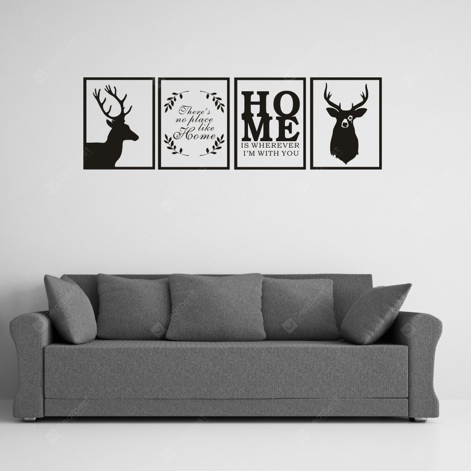 AY - 356 Creative HOME Style Border Combination DIY Wall Sticker BLACK