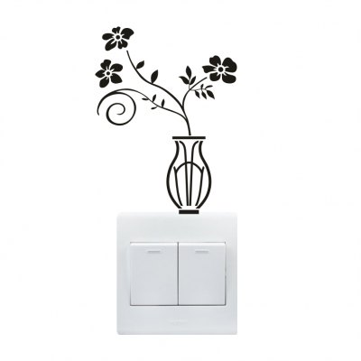 Cute Fluorescence Vase Luminous Switch Wall Sticker