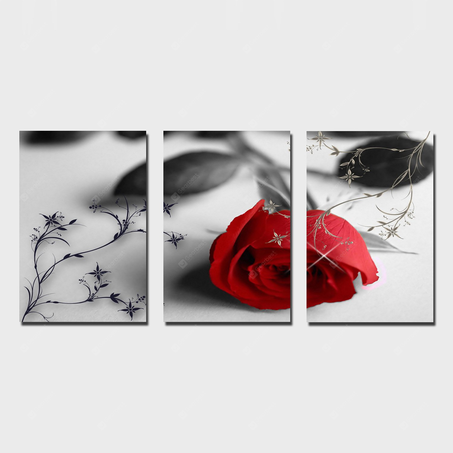 YSDAFEN Rose Printing Canvas Wall Decoration RED