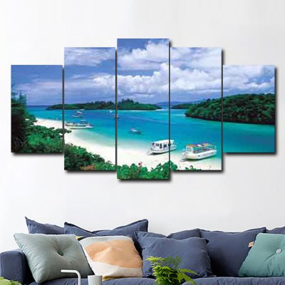 5PCS Seascape Wall Decor for Home DecorationPrints<br>5PCS Seascape Wall Decor for Home Decoration<br><br>Craft: Print<br>Form: Five Panels<br>Material: Canvas<br>Package Contents: 5 x Print<br>Package size (L x W x H): 36.00 x 6.00 x 6.00 cm / 14.17 x 2.36 x 2.36 inches<br>Package weight: 0.6000 kg<br>Painting: Without Inner Frame<br>Product size (L x W x H): 150.00 x 80.00 x 0.10 cm / 59.06 x 31.5 x 0.04 inches<br>Product weight: 0.4000 kg<br>Shape: Horizontal Panoramic<br>Style: Beautiful<br>Subjects: Landscape<br>Suitable Space: Living Room