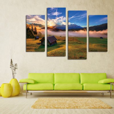4PCS Print Dawn of Grassland Wall Decor for Home Decoration