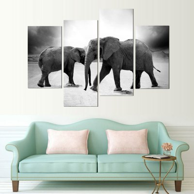 4PCS Printed Elephant Painting Canvas Print Room Decor