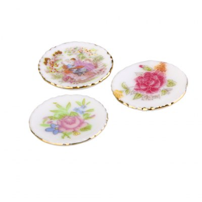 1:12 Scale Doll House Miniature Ceramic Plate Toy Set