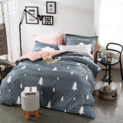 4-piece Bedding Set 100 Percent Cotton Christmas Trees Pattern
