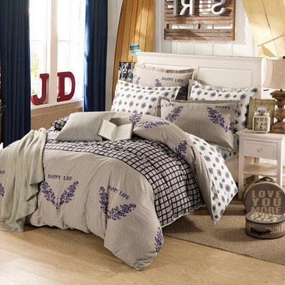 4-piece Bedding Set 100 Percent Cotton Grids Pattern