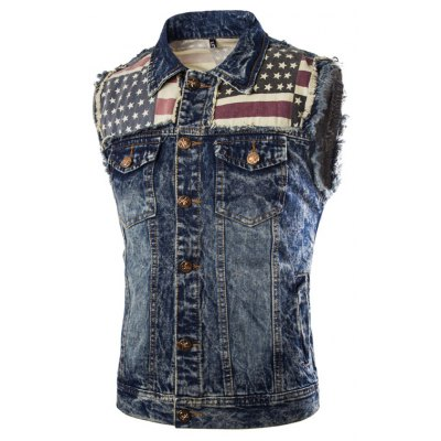Male Stylish Casual Spell Color Slim Fit Sleeveless Jean Vest