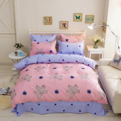 4-piece Bedding Set Polyester Cotton Pretty Leaves Pattern