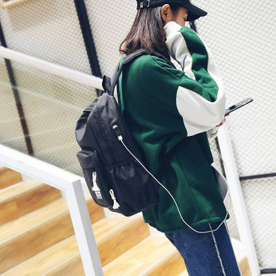 Canvas Backpack with USB Charging Port