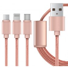 2.1A 3 in 1 Type-C + 8 Pin + Micro USB Cable