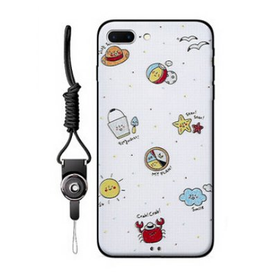 Cartoon TPU Case with Lanyard for iPhone 7 Plus