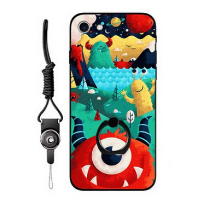 Colorful Cartoon Style Ring Holder Protector Case for iPhone 7