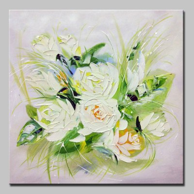 Canvas White Flowers Oil Painting Modern Art