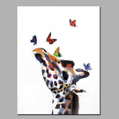 YHHP Abstract Colorful Giraffe Head Canvas Oil Painting