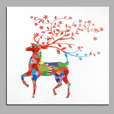 YHHP Abstract Colorful Sika Deer Canvas Oil Painting