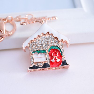 Beautiful Boutique Pendant Christmas Snow House Key Ring