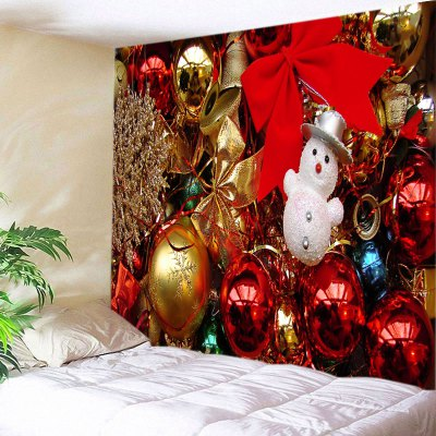 Wall Hanging Art Christmas Baubles Bowknots Print Tapestry