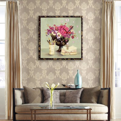 E - HOME Wall Clock with Flowers On the Cup Pattern