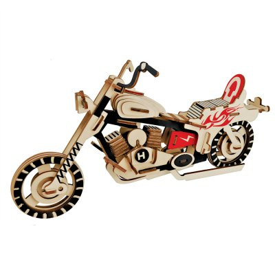3D Wooden DIY Motorcycle Style Puzzle Toy