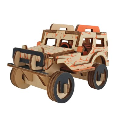 3D Wooden DIY Jeep Style Puzzle Toy