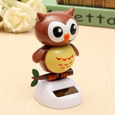 Solar Energy Automatic Swing Owl Car House Decoration