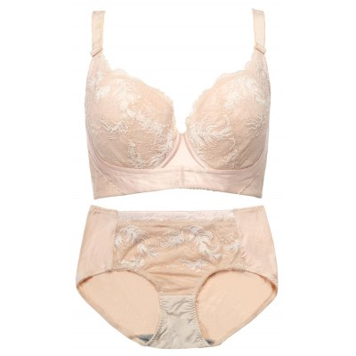 Sexy Women Natural Pull Up Gather Lace Mesh Color Block Underwear Bra