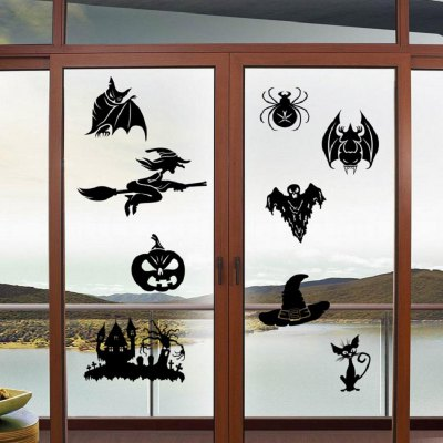 Halloween Style Sticker Cat Bat Ghost Witch Skull Spider Pattern Home Wall Decor