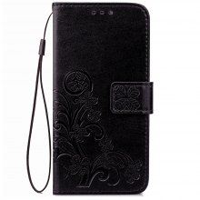 Lucky Clover Holster Leaf Card Lanyard Pu Leather for Huawei P10 Lite